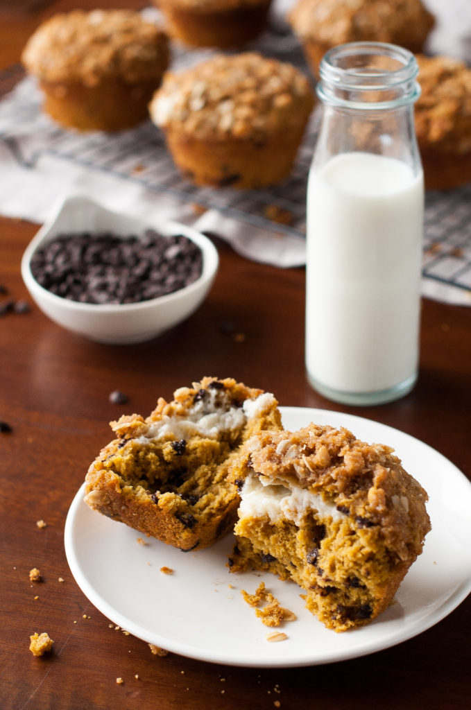 Gluten Free Pumpkin Chocolate Chip Muffins Recipe with Cream Cheese gluten free pumpkin chocolate chip muffins