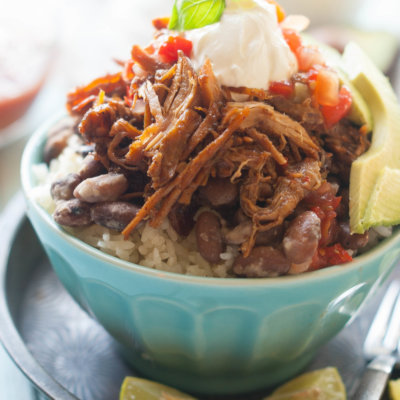 Chili Spiced Gluten-Free Pulled Pork Burrito Bowls Crock Pot Recipe