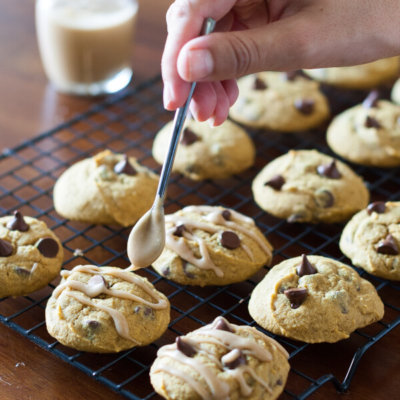 Gluten-Free Pumpkin Cookies Recipe with Chocolate Chips and Brown Sugar Icing